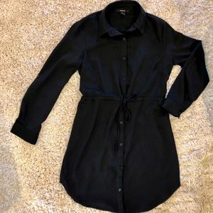 Black Button Up Polyester Dress